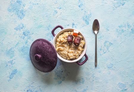 Oatmeal with dates. Healthy natural food. Ramadan menu Stock Photo - 101518583