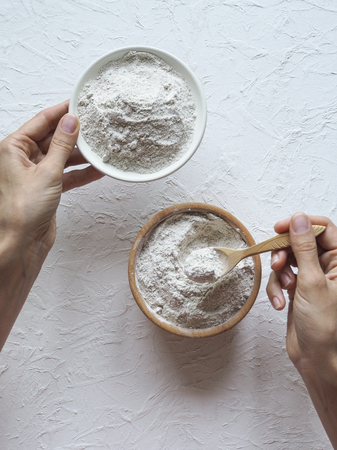 Adaptogens Ashwagandha in a bowl. Nutrition supplement 写真素材
