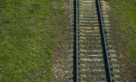 Aerial view of railway track through countryside