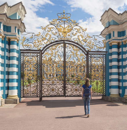 Woman tourist in a tourist spot at the Grand Catherine Palace in Tsarskoye Selo, Russia