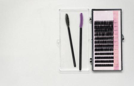 False eyelashes and tools for sticking eyelashes.