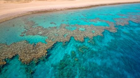 Dead sea corals aerial view. Sea landscape background Banco de Imagens