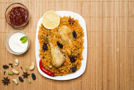 National dish of Saudi Arabia is kabsa fahm (Ruz Bukhari). Reklamní fotografie