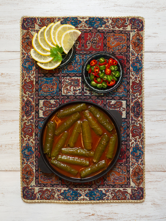 Dolma - Sarma Stuffed Grape leaves. Mediterranean cuisine.