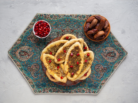 Scones with Zatar. Manakish Arabic. Arabic cuisine. Top view. Imagens