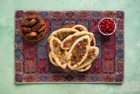 Scones with Zatar. Manakish Arabic. Arabic cuisine. Top view. Imagens