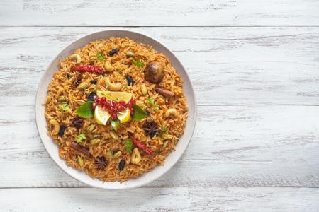 Kerala Vegetable Biriyani. Indian cuisine. Top view