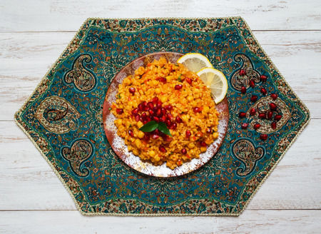 Vegetable Biryani, Vegetarian dish on a white table.