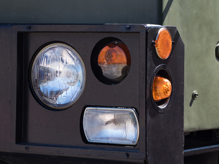 Headlight with turn signal of heavy military vehicles.