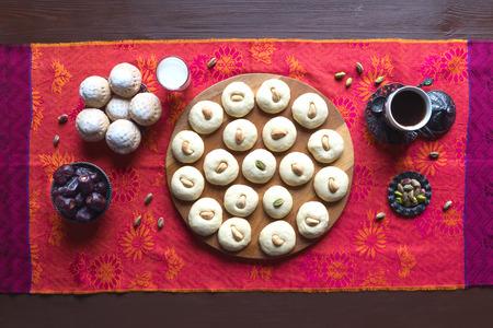 Ramadan sweets background. Ghorayeba sweets. Eid eats. Cookies of El Fitr Islamic Feast.