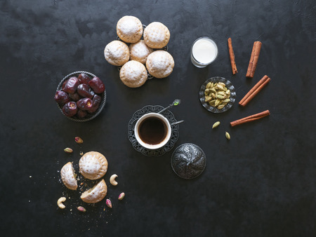 Ramadan sweets background. Cookies of El Fitr Islamic Feast. Egyptian cookies Kahk El Eid.