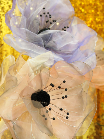 Flowers from organza for interior decoration. Close up.