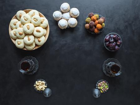 Cookies of El Fitr Islamic Feast. Ghorayeba sweets. Eid eats. Stock Photo
