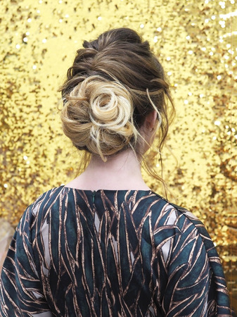 A view of the womans hair from the back. Fashion and hairdressing concept. Stock Photo