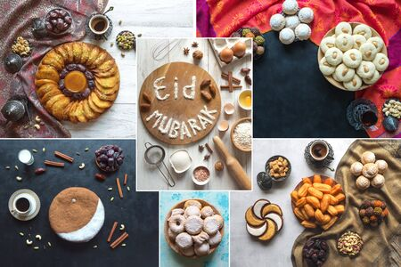 Arabic cuisine collage. Eid Mubarak - Islamic holiday welcome phrase