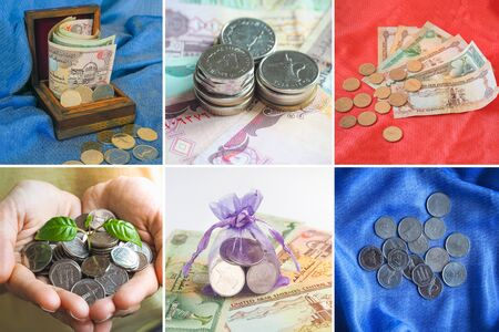 Collage from different pictures of Arab dirhams. Stock fotó