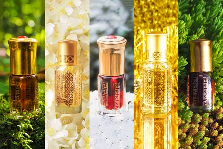 Collage from different pictures of Arabian oud attar essential oil or agarwood oil fragrances in mini bottles.