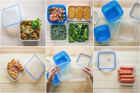 Collage with preform for transportation and storage in plastic containers. Stock Photo - 128256833