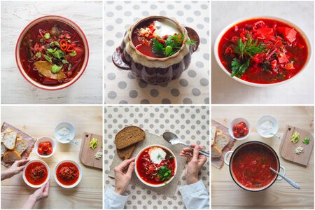 Collage from different pictures of Borsch, traditional dish of Ukrainian cuisine.