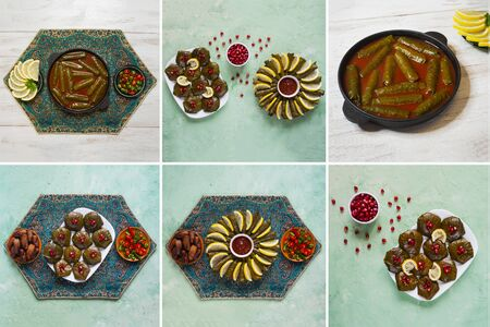 Collage showing of dolma dishes of grape leaves.