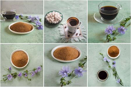 Collage from different pictures of Chicory coffee. A substitute for traditional coffee, a herbal drink from the roots of chicory.