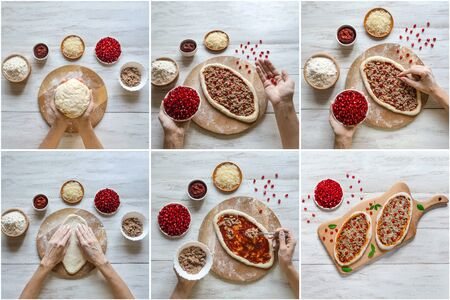 Collage with cooking pizza. Arabic oval pizza. Close up. Stockfoto