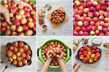 Food collage with baked apples in syrup with cinnamon and ginger. Stock Photo - 129214525