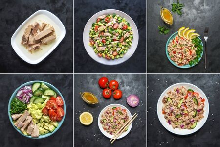 Food collage with a variety of salads with canned tuna.