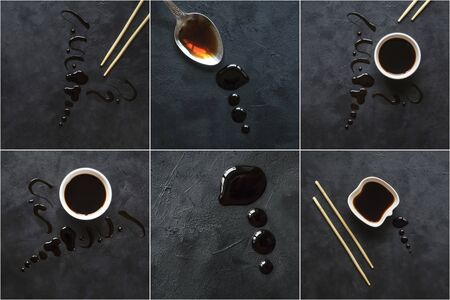 Collage with puddle of soy sauce on a black table. Stockfoto