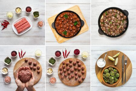 Food collage with different views of meatballs world cuisine.