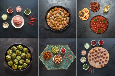 Food collage with different views of meat meatballs world cuisine.