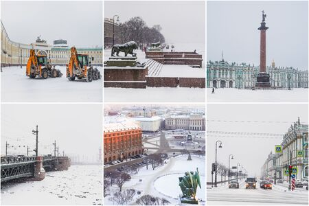 Collage from different pictures of beautiful winter views of St. Petersburg. Russia. Zdjęcie Seryjne