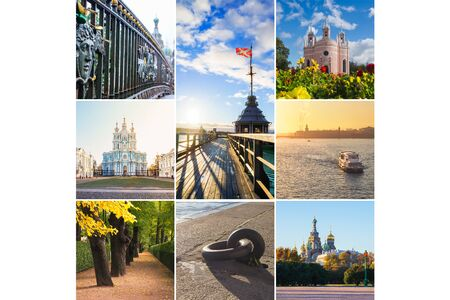 Collage from different pictures of beautiful views of St. Petersburg. Russia.