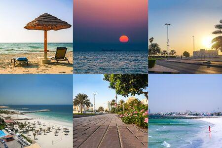 Collage with beautiful views of Ajman. UAE. Stock Photo