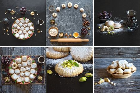 Collage with Arabic cookies Maamoul. Ramadan sweets background. Cookies of El Fitr Islamic Feast.
