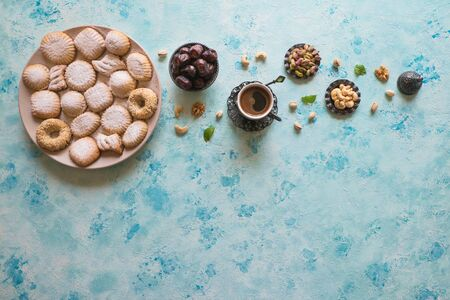 Arabic cookies Maamoul. Ramadan sweets background