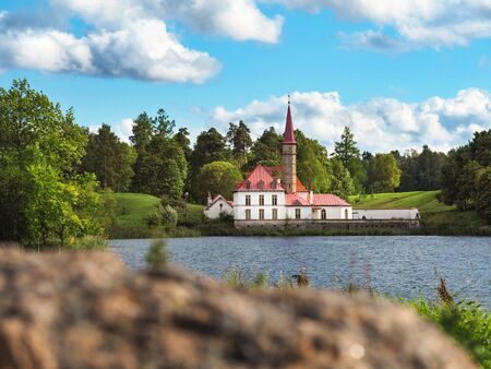 Sunny landscape with old castle. Russia. Gatchina city.