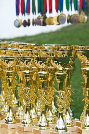 Gold cups are on the table before the presentation.