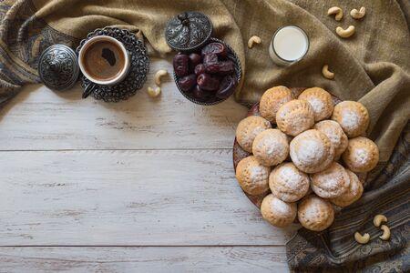 "Cookies of El Fitr Islamic Feast. Ramadan sweets. Egyptian cookies ""Kahk El Eid"" ."