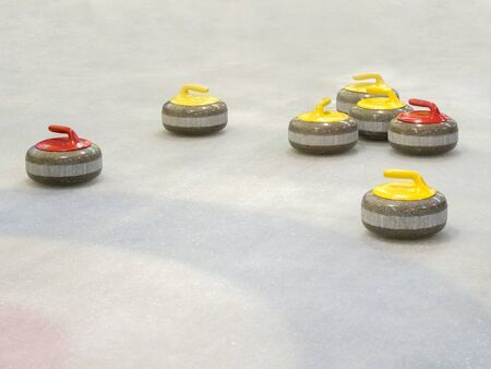 Group of stones for curlinggame in curling on ice