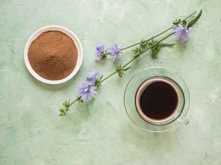 Chicory coffee. A substitute for traditional coffee, a herbal drink from the roots of chicory. Top view.