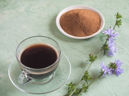 Chicory coffee. A substitute for traditional coffee, a herbal drink from the roots of chicory