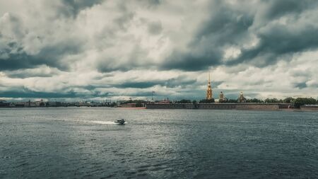 Neva River in St. Petersburg without tourist ships in June 2020. The city is in quarantine.
