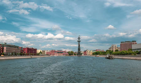 Beautiful sunny landscape with view on the Moscow river. Moscow, Russia.