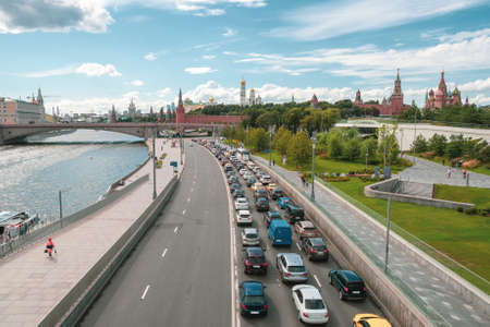 Moscow traffic jam. Cars stands in traffic jam on the city center.