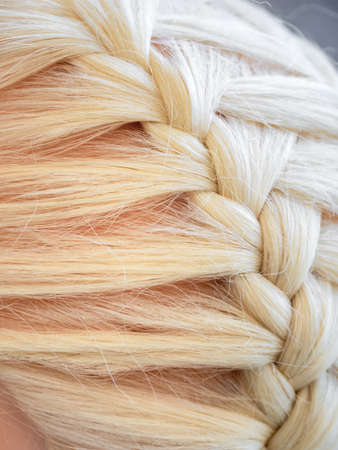 Braid on a mannequin close up. Stockfoto