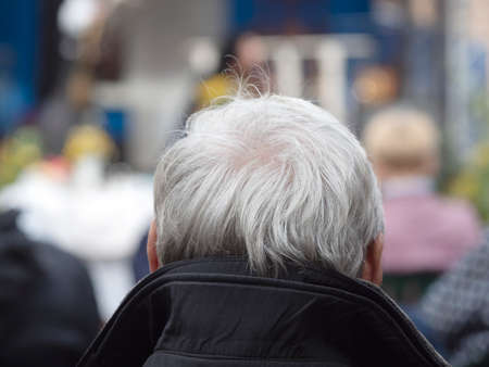 Back view of the man with a gray hair head in a open air.