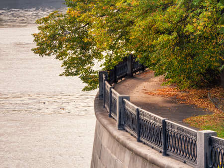 A round fragment of the city river embankment with a large tree branch in autumn Archivio Fotografico