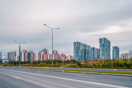 Residential neighborhood in the South-West of Saint Petersburg. Standard-Bild