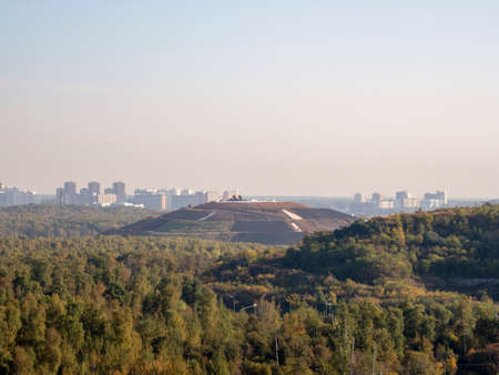 Reclamation of a former landfill in the North of Moscow. Aeral view. Standard-Bild - 157344915